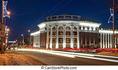 rue ville, hiver, lumières, nuit