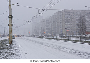 rue ville, hiver, route