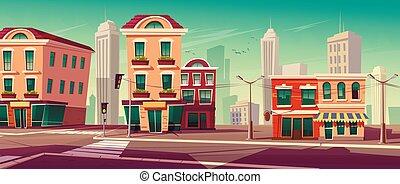 rue ville, maisons, route
