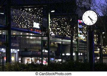 rue ville, nuit, horloge