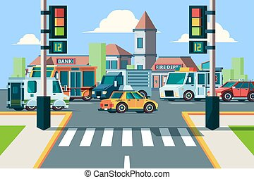 rue ville, plat, voitures, lumières, paysage, vecteur, route, fond, passage clouté, intersection, urbain, traffic.