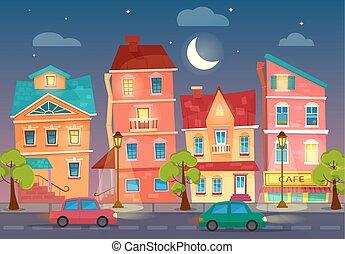 rue ville, road., voitures, lumières, vecteur, dessin animé, night.