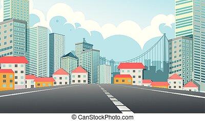 rue ville, scène, vue