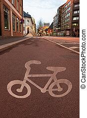 rue, ville, symbole, vélo