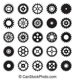 rueda, 1, conjunto, engranaje, iconos
