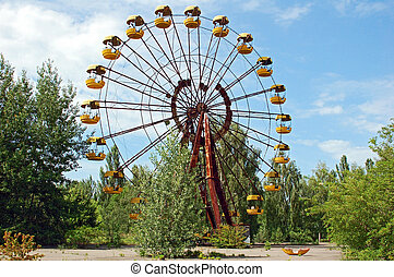 rueda, abandonado, área, parque, ferris, pripyat, diversión,...