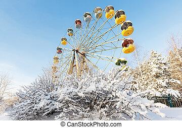 rueda, abandonado, panorama, ferris, pervouralsk, rusia, invierno