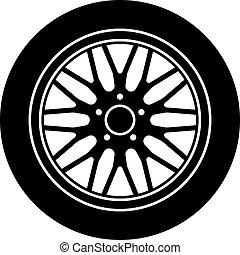 rueda, aluminio, coche, símbolo, vector, negro, blanco