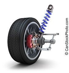 rueda, amortiguador, y, freno, almohadilla