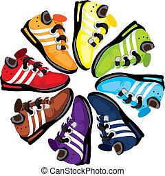 rueda, arco irirs, shoes