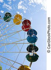 rueda, azul, atracción, parque, -, nublado, ferris, plano de fondo, popular, cielo