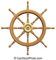 rueda, barco, aislado, 3d