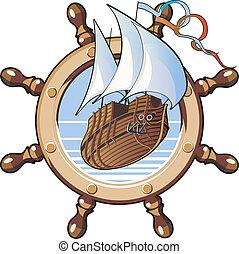 rueda, barco, y