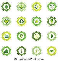 rueda, bio, conjunto, engranaje, iconos, eco, símbolos, ...