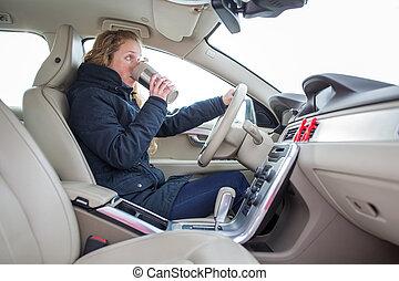 rueda, café, mujer, ella, conducción, coche, moderno, -,...