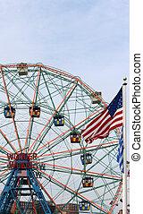 rueda, co, parque, deno's, localizado, diversión, maravilla