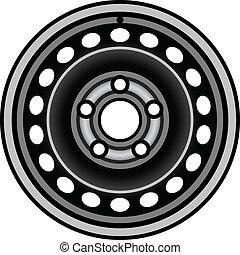rueda, coche, borde, vector, negro, hierro