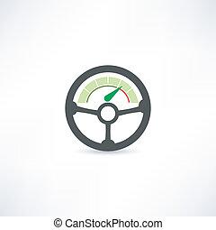 rueda, coche, icono