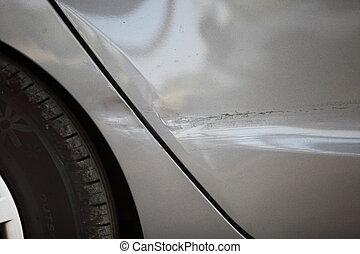 rueda, coche, lado, panel