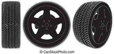 rueda, coche, neumático