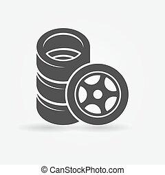 rueda, coche, neumáticos, icono