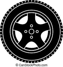 rueda, coche, símbolo, vector, negro, blanco