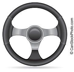rueda, coche, vector, entrepuente