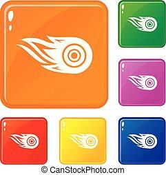rueda, conjunto, iconos, fuego, color, vector
