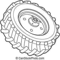 rueda, contorno, tractor