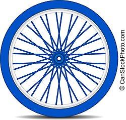 rueda de bicicleta, en, azul, diseño, con, sombra