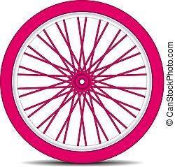 rueda de bicicleta, en, rosa, diseño, con, sombra