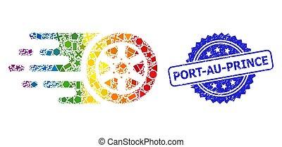 rueda de coche, rasguñado, geométrico, sello, bolide, arco irirs, port-au-prince, estampilla, mosaico