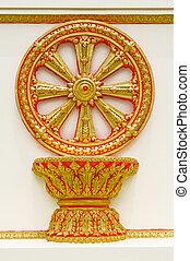 rueda, de, dhamma, de, budismo
