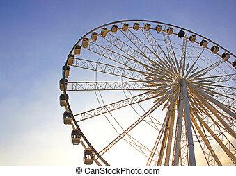 rueda de ferris, con, cielo azul