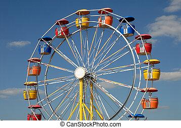 rueda de ferris, en, parque de atracciones
