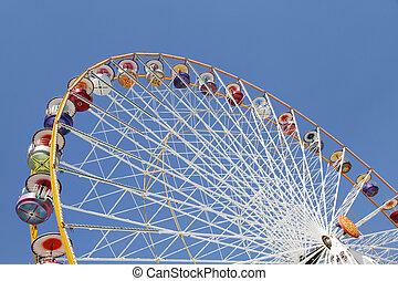 rueda de ferris, en, un, parque de atracciones