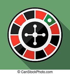 rueda de la ruleta, casino, plano, icono