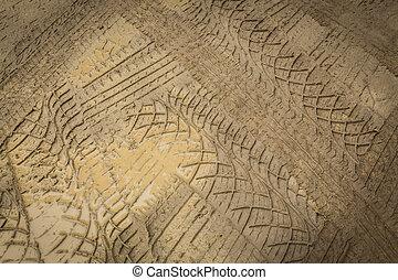 rueda, de, rastro, tierra, fangoso, camino