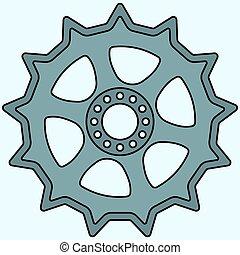 rueda, diente de rueda de cadena