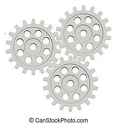 rueda, diente de rueda de cadena, set., vector, diente, ...