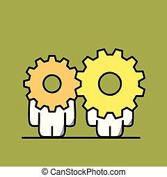rueda, engranaje, cooperación