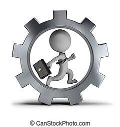 rueda, engranaje, gente, -, pequeño, hombre de negocios, 3d