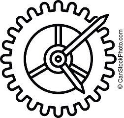 rueda, estilo, engranaje, contorno, icono, reloj