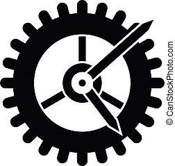 rueda, estilo, engranaje, simple, icono, reloj