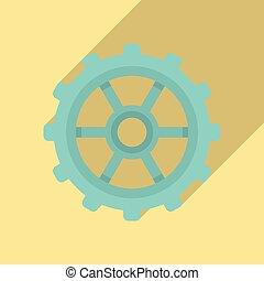 rueda, estilo, plano, diente, icono, reloj