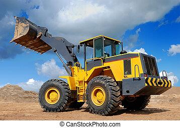rueda, excavadora, five-ton, cargador