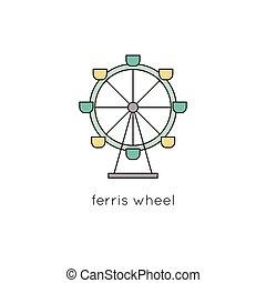 rueda, ferris, línea, icono