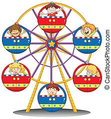 rueda, ferris, niños, feliz, equitación