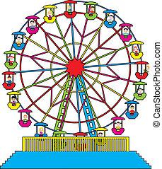 rueda, ferris, vector, niños, feliz