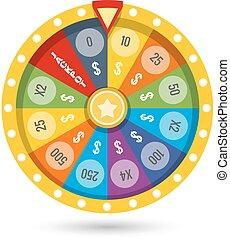 rueda, fortuna, afortunado, ilustración, juego, vector
